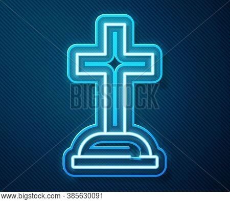 Glowing Neon Line Tombstone With Cross Icon Isolated On Blue Background. Grave Icon. Vector