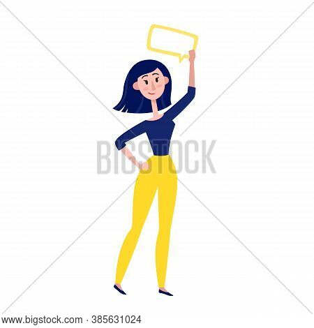 Vector Illustration Of Thinking Women Standing Isolated On White.