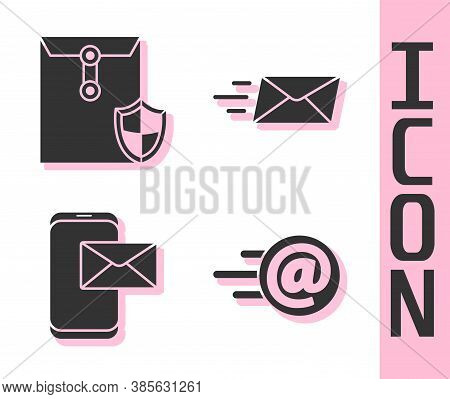 Set Mail And E-mail, Envelope With Shield, Mobile And Envelope And Express Envelope Icon. Vector