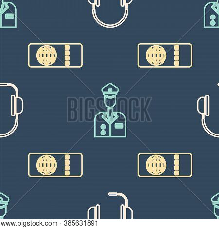 Set Isometric Headphones With Microphone, Airline Ticket And Pilot Icon. Vector
