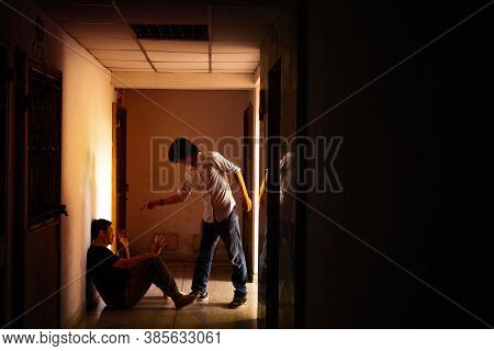Two Men Staring Each Other As A Enemies, Conflict Between Two Worker, Intimidation Concept.