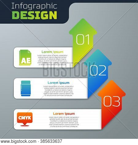Set Ae File Document, Eraser Or Rubber And Speech Bubble With Text Cmyk. Business Infographic Templa