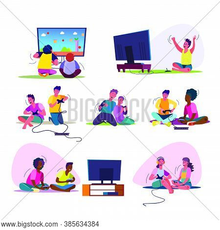 Excited Video Gamers Set. Teenagers Playing Videogames, Sitting At Tv, Using Console, Controller, Ga