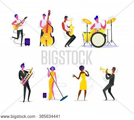 Set Of Musicians Performing On Scene. Group Of Musicians Singing And Playing Musical Instruments. Pe