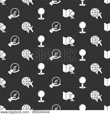 Set Folded Map With Push Pin, Globe With Flying Plane, Compass And Push Pin On Seamless Pattern. Vec