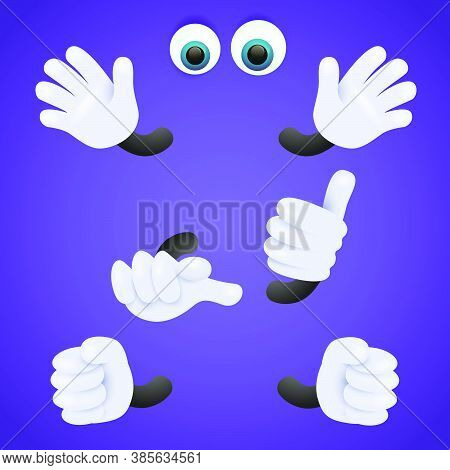Eyes And Gloved Hands Of Personage. Body Parts Of Cartoon Character. Can Be Used For Topics Like Ani