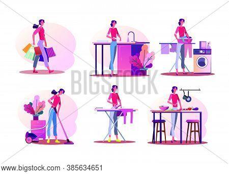 Housework Illustration Set. Woman Doing Shopping, Washing Dish, Cooking, Ironing, Cleaning Apartment
