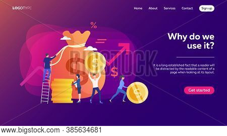 Investors Earning Income. People Carrying Cash From Sack With Money, Finance, Profit Vector Illustra