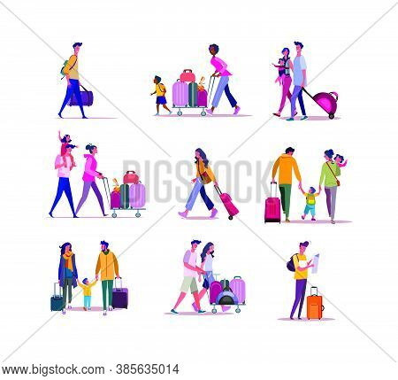Set Of Travelers Walking With Luggage. Flat Vector Illustrations Of Families Carrying Travel Cases.