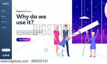 Vector Illustration Of Family Looking In Sky With Telescope. Leisure, Observation. Astronomy Concept