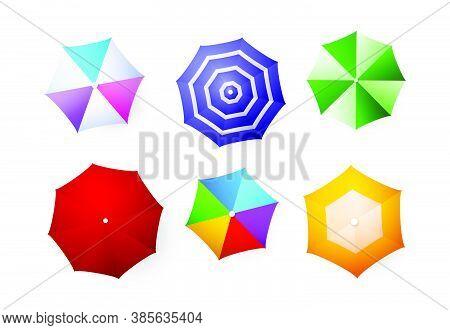 Beach Umbrellas Set. Top View, Bright Colorful Umbrellas. Seaside Concept Realistic Vector Illustrat