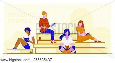 Four Female Students Reading Books. Girls Sitting On Giant Books Flat Vector Illustration. Library V