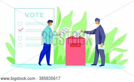 Voters Inserting Forms Into Ballot Boxes. Presidential, Congress, Government Election Flat Vector Il