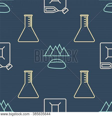 Set Line Canister For Gasoline, Oil Petrol Test Tube And Oilfield On Seamless Pattern. Vector