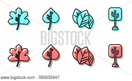 Set Line Leaf Or Leaves, Leaf Or Leaves, Leaf Or Leaves And Tree Icon. Vector