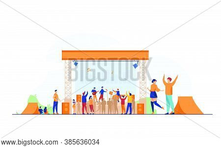 Happy People Having Fun At Rock Concert Flat Vector Illustration. Open Festival At Fresh Air. Musici