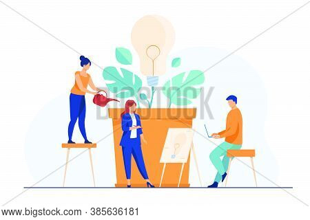 Business Team Discussing New Ideas And Innovations. Group Of People Growing Lightbulb Plant. Vector