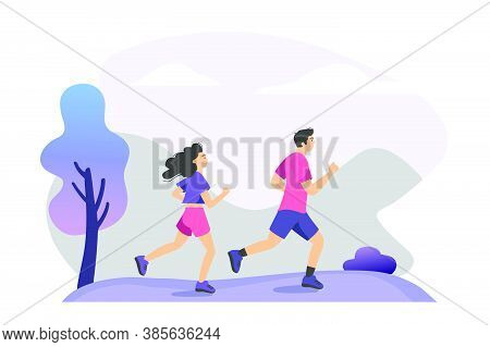 Couple Practicing Trail Run Training. People Jogging Outdoors. Vector Illustration For Runners, Aero