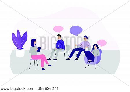 Doctor Counseling People At Group Therapy Flat Vector Illustration. Men And Women In Psychologist Se