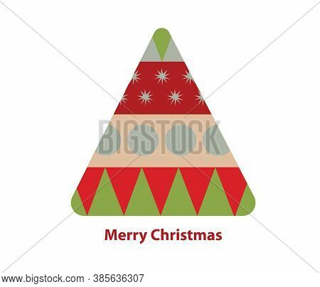 Illustration Of A Geometric Christmas Tree With Merry Christmas Quote Over White Background