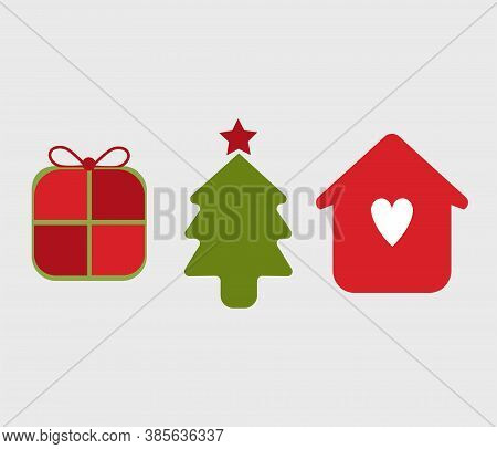 Illustration Of Thee Icons, Symbols Of Christmas Season. Christmas Tree, Gift Package And Home Famil