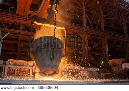 Smelting Metal In A Industrial Metallurgical Plant