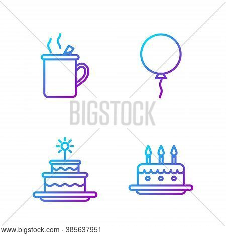 Set Line Cake With Burning Candles, Cake With Burning Candles, Mulled Wine And Balloon With Ribbon.