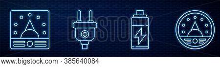 Set Line Battery, Ampere Meter, Multimeter, Voltmeter, Electric Plug And Ampere Meter, Multimeter, V