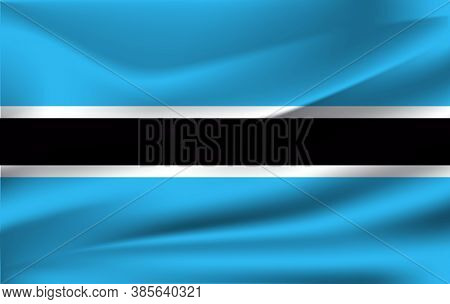 Flag Of Botswana. Realistic Waving Flag Of Republic Of Botswana. Fabric Textured Flowing Flag Of Bot