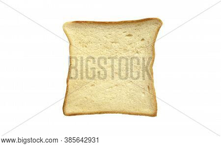 One Slice Of Milk Bread Isolated On White Background. Top View. Tasty Fresh White French Bread.