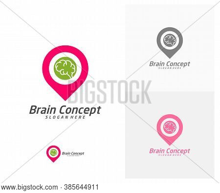 Brain Point Logo Design Vector Template. Think Idea Concept. Brainstorm Power Thinking Brain Icon Lo