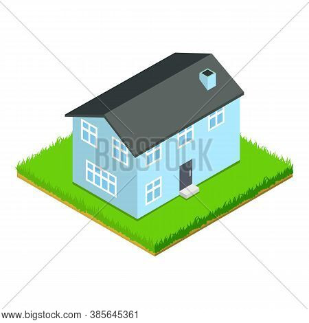 Large House Icon. Isometric Illustration Of Large House Vector Icon For Web