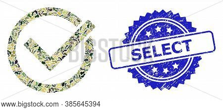 Military Camouflage Composition Of Accept Tick, And Select Scratched Rosette Seal. Blue Stamp Seal C