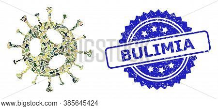 Military Camouflage Collage Of 2019-ncov Virus, And Bulimia Grunge Rosette Stamp. Blue Seal Has Buli