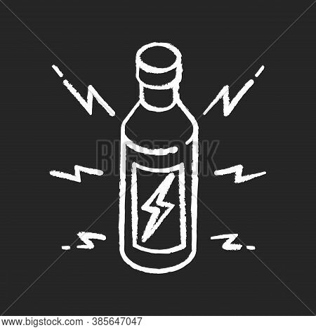 Energy Drink Chalk White Icon On Black Background. Beverage For Power Boost. Bottle With Bolt Sign.