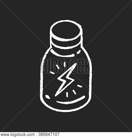 Energy Shot Chalk White Icon On Black Background. Caffeinated Beverage. Drink For Stamina. Booze In