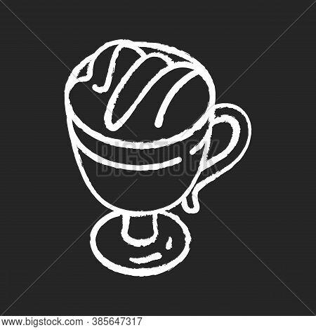 Macchiato Chalk White Icon On Black Background. Coffee Drink In Glass Mug. Frappe With Foam. Hot Bev
