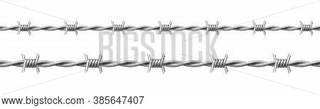 Steel Barbwire Set, Twisted Wire With Barbs Isolated On White Background. Vector Realistic Seamless
