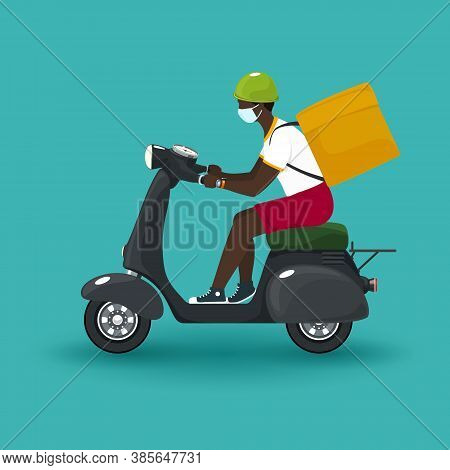 Young African Guy In Protective Face Mask With Box For Food Delivery Rides A Scooter, Gray Vintage S