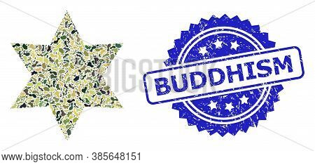 Military Camouflage Composition Of Six Corner Star, And Buddhism Scratched Rosette Stamp Seal. Blue