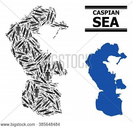 Vaccine Mosaic And Solid Map Of Caspian Sea. Vector Map Of Caspian Sea Is Created From Vaccine Symbo