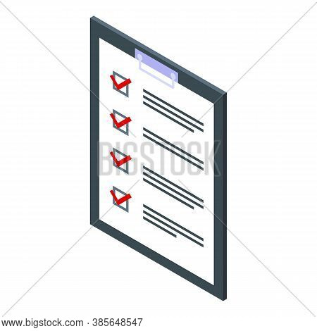 Quality Assurance Check List Icon. Isometric Of Quality Assurance Check List Vector Icon For Web Des