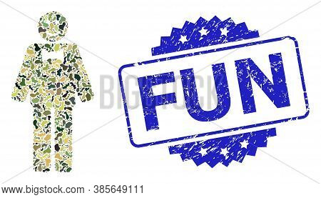 Military Camouflage Composition Of Happy Mister, And Fun Grunge Rosette Seal Imitation. Blue Stamp S