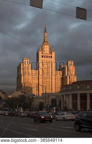 Moscow, Russia - 14 September 2020, Stalin\'s Skyscraper On Barrikadnaya In The Rays Of The Setting