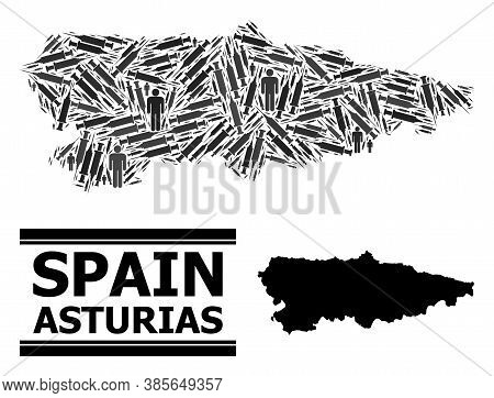 Covid-2019 Treatment Mosaic And Solid Map Of Asturias Province. Vector Map Of Asturias Province Is C