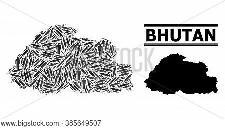 Vaccination Mosaic And Solid Map Of Bhutan. Vector Map Of Bhutan Is Designed With Syringes And Human