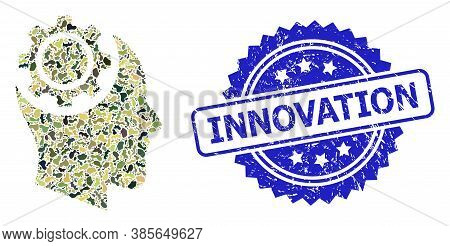 Military Camouflage Composition Of Human Intellect Gear, And Innovation Rubber Rosette Stamp. Blue S
