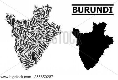 Vaccine Mosaic And Solid Map Of Burundi. Vector Map Of Burundi Is Designed With Vaccine Doses And Pe