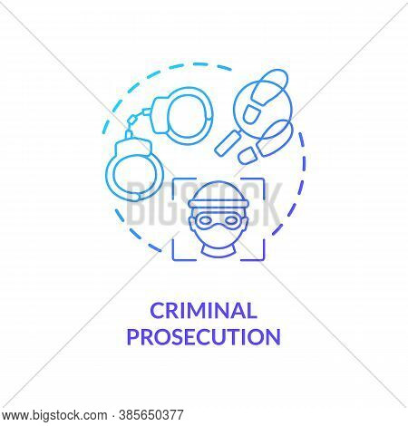 Criminal Prosecution Concept Icon. Person Face Verefication System. Criminal Stopping Futuristic Tec
