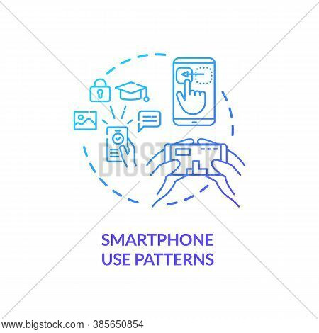 Smartphone Use Patterns Concept Icon. Users Identification Information. Identification With Phone Us